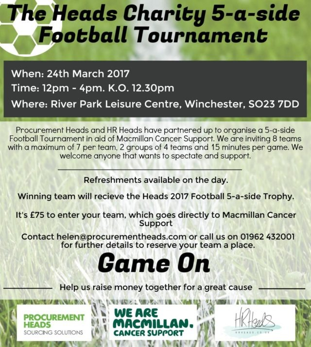 The Heads Charity 5 A Side Football Tournament Hr Heads